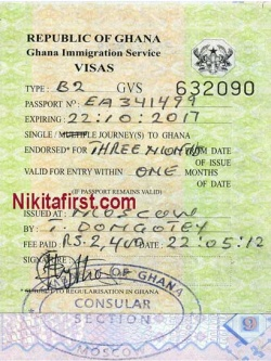 Виза в Гану образец