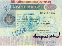 Виза в Индонезию образец